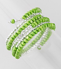 L&J Accessories Lime Green Wood Coil Bracelet