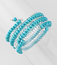 L&J Accessories Turquoise Wood Coil Bracelet
