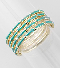 L&J Accessories Seven Row Turquoise/Goldtone Bangles
