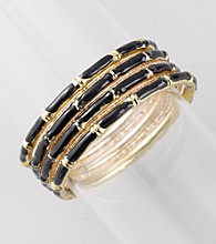 L&J Accessories Seven Row Jet & Goldtone Bangle Bracelets