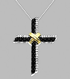 Sapphire and Diamond Cross Pendant in Sterling Silver