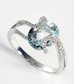Effy® Aquamarine and Diamond Ring