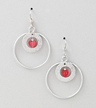 Silver Forest® Red Two Loop with Jade Earrings