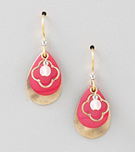 Silver Forest® Pink Layered Tear & Shell Earrings