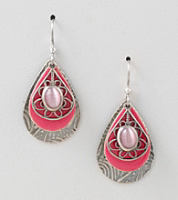 Silver Forest® Pink Cateye Tear Earrings