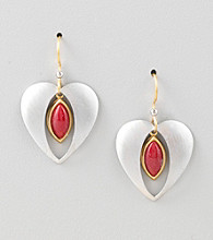 Silver Forest® Two-Tone Heart and Red Stone Earrings
