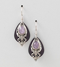 Silver Forest® Black Tear & Filigree Earrings