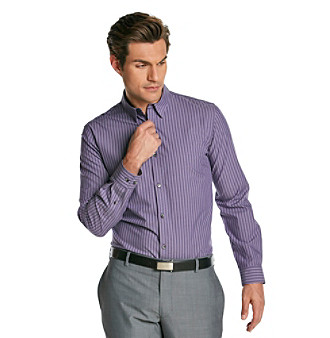 Calvin Klein Men's Prospero Purple Long Sleeve Check Woven