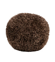 Surya Round Shag Dark Brown Pouf
