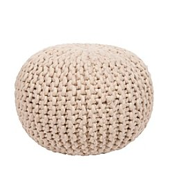 Chic Designs Round Textured Cream Pouf
