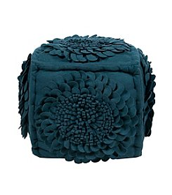 Chic Designs Square Floral Navy Blue Pouf