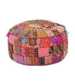 Chic Designs Round Sari Pink Pouf