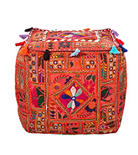 Surya Square Sari Orange Pouf