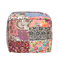 Surya Square Multi-Pattern Multi-Color Pouf