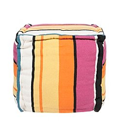 Chic Designs Square Striped Pink Pouf