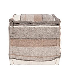 Chic Designs Square Striped Grey Pouf