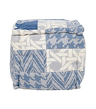 Surya Square Multi-Pattern Blue and Grey Pouf