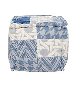 Chic Designs Square Multi-Pattern Blue and Grey Pouf