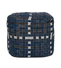 Surya Square Blue Jean Denim Pouf