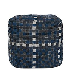 Chic Designs Square Blue Jean Denim Pouf