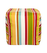 Surya Square Striped Pouf