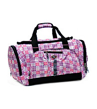 CalPak Hollywood Lavender Plaid Multi-Pocket Duffel Bag