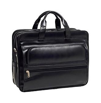 McKlein Elston Black Leather Double Compartment Laptop Case