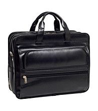 McKlein Elston Black Leather Double Compartment Laptop Case