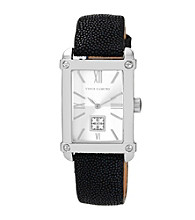 Vince Camuto™ Black Sitngray Leather Strap Watch