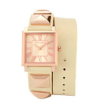 Vince Camuto™ Ivory Double Wrap Leather Strap Watch