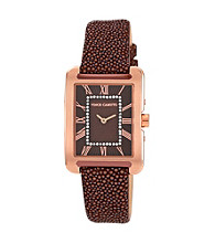 Vince Camuto™ Women's Goldtone Brown Strap Watch