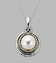 14K Gold & Sterling Silver Pendant with Pearl and Diamond Accent