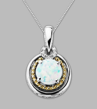 14K Gold & Sterling Silver Pendant with Created Opal and Diamond Accent