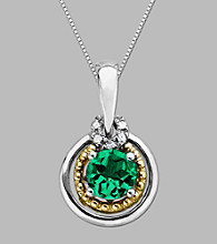 14K Gold & Sterling Silver Pendant with Created Emerald and Diamond Accent