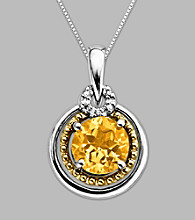 14K Gold & Sterling Silver Pendant with Citrine and Diamond Accent