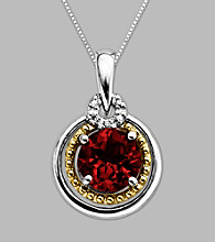 14K Gold & Sterling Silver Pendant with Garnet and Diamond Accent