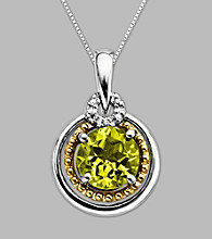 14K Gold & Sterling Silver Pendant with Peridot and Diamond Accent