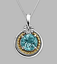 14K Gold & Sterling Silver Pendant with Aqua and Diamond Accent