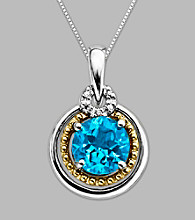 14K Gold & Sterling Silver Pendant with Blue Topaz and Diamond Accent