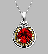 14K Gold & Sterling Silver Pendant with Created Ruby and Diamond Accent