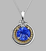 14K Gold & Sterling Silver Pendant with Created Sapphire and Diamond Accent