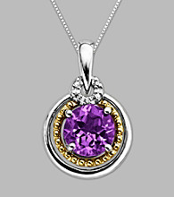 14K Gold & Sterling Silver Pendant with Amethyst and Diamond Accent