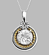 14K Gold & Sterling Silver Pendant with White Topaz and Diamond Accent