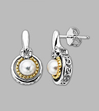 14K Gold & Sterling Silver Earring with Pearl and Diamond Accent