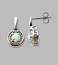 14K Gold & Sterling Silver Earring with Created Opal and Diamond Accent