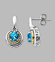 14K Gold & Sterling Silver Earring with Blue Topaz and Diamond Accent