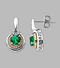 14K Gold & Sterling Silver Earring with Created Emerald and Diamond Accent