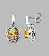 14K Gold & Sterling Silver Earring with Citrine and Diamond Accent