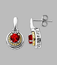 14K Gold & Sterling Silver Earring with Created Ruby and Diamond Accent