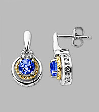 14K Gold & Sterling Silver Earring with Created Sapphire and Diamond Accent